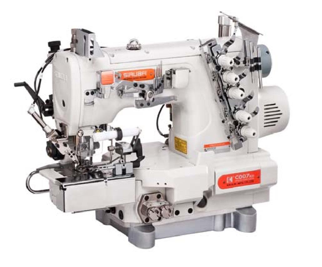 Masina de atasat elastic la chiloti cu brat cilindric si cutit de rihtuit SIRUBA C007K/KD